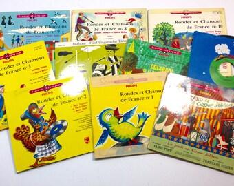 10 French Childrens 45rpm Records, Rondes et Chanson de France, Vinyl, Vintage French Kids Music, Adorable Songs