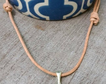 Whale Tail Leather Cord Necklace