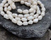 freshwater rice pearls 6mm 7mm 8mm white pearl loose beads full strand 45cm
