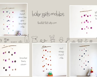 Baby Girl Mobiles with Felt Balls and Driftwood -- Choose Ready Color Combination or Create New -- Rustic Natural Gift -- Made to Order