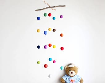 Driftwood and Felt Balls Mobile -- Colorful Baby Nursery Mobile -- Rustic and Natural -- Gender Neutral -- Ready to ship