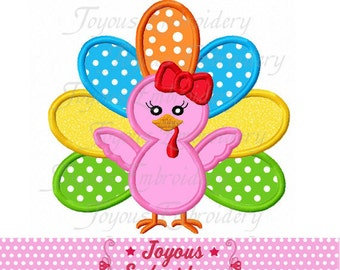 Instant Download Thanksgiving Girl Turkey Embroidery Applique Design NO:2223