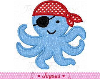Instant Download Pirate Octopus Digital Applique Machine Embroidery Design NO:2334