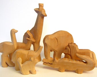 Animals of Africa, Wooden Animals, Zoo, Carved Animals to Educate Love and Awe towards Nature