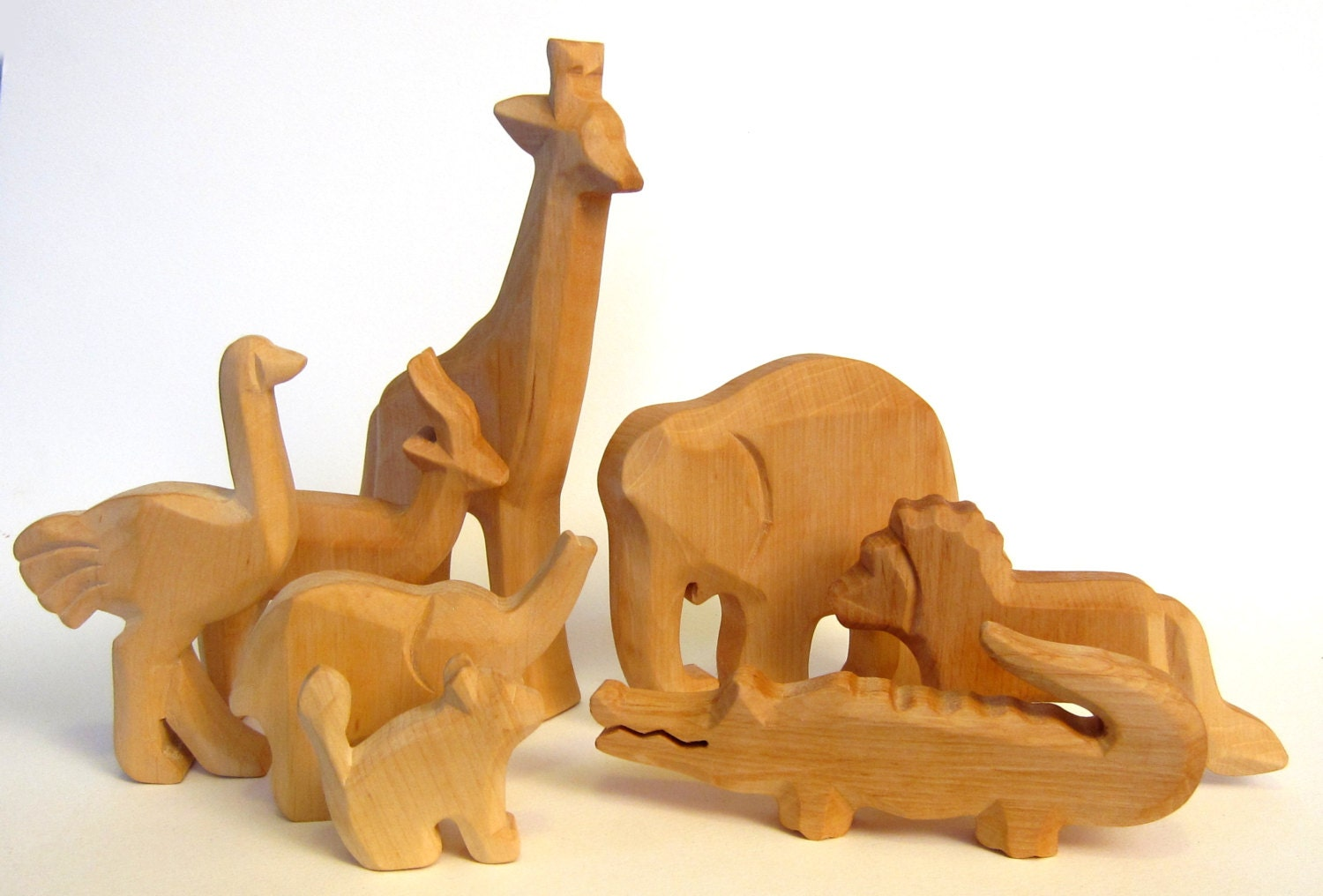 Animals of africa wooden zoo carved to