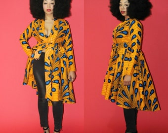 EGYPT- Yellow and Blue African Ankara Wrap Wax Hi Low Wax Dress Jacket