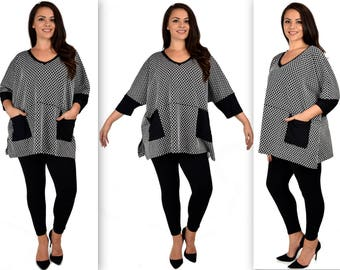 NEW Stunning and Comfy Oversized Plus size tunic with V neck, Lagenlook OSFA 1XL/2XL/3XL/4XL