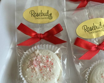 12 White Chocolate Candy Cane Oreo Cookie Favors Peppermint Christmas Candy