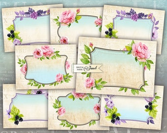 Vintage Romantic Labels - digital collage sheet - set of 8 - Printable Download