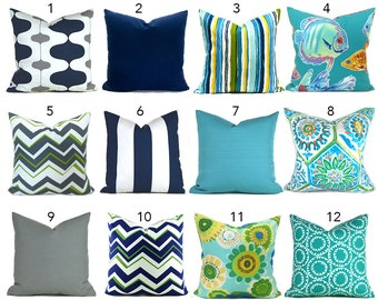 Outdoor Pillows Decorative Pillows Outdoor Pillow Covers ANY SIZE Pillow Cover Outdoor Navy Turquoise You Choose