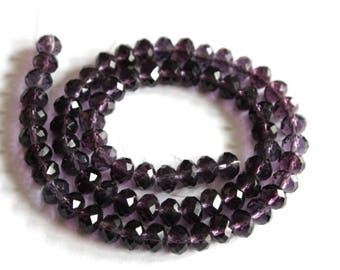 Deep Purple Faceted Crystal Rondelle Beads