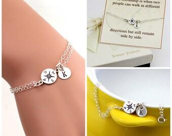 Compass bracelet, personalized compass bracelet, sister bracelet. Journey bracelet. Friendship bracelet. Best friend.