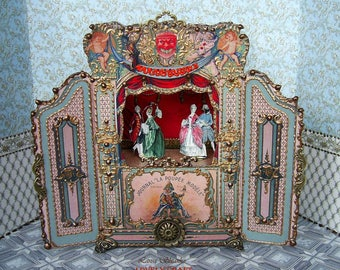 Puppet theater. Dolls house miniature. Paper theater. Handcrafted miniature. For doll House. 1:12 Scale. TO ORDER.