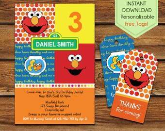 Elmo Invitation, Elmo 2nd birthday, Elmo Party Printable, Elmo Invite, Elmo Birthday Printable, Sesame Street Elmo Party Invite
