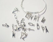 26PC Antique Silver tone plated finish//Alphabet charms for wire adjustable/expandable trendy bracelets//popular wire bracelet charms