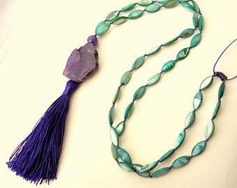 Purple tassel necklace, Emerald green neacklace, Rosary necklace, boho necklace, trends 2018,  cypress green necklace, gypsy necklace