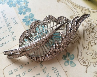 Feather Swarovski rhinestones crystals brooch pin, bridal brooch, rhinestones brooch, bridal jewelry, wedding brooch, for her