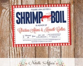 Red White Dark Navy on Gingham Seafood Shrimp Boil Invitation - choose your colors and wording - Seafood Shrimp Crab Low Country Boil