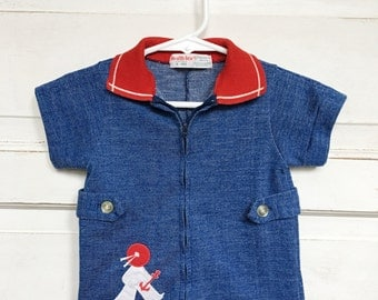 Vintage Health-Tex nautical sailor romper/ one piece - red/white/blue vintage baby boy clothing size 9M