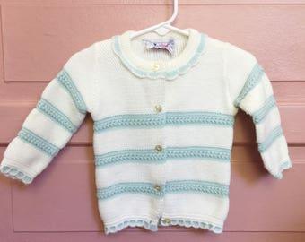 Vintage cream and blue cardigan/ vintage sweater size 12M