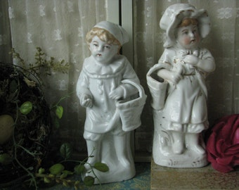 Antique German Victorian Porcelain Boy and Girl With Baskets Fireplace Mantle Bookcase Antique China Victorian Children