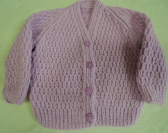 Baby Toddler Cardigan Jacket Unique Hand Knitted 18-20 Inch 9-12 Months