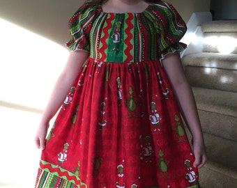 Size 8 girls.....Grinch Dress.....Made and ready to be shipped.