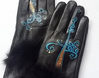 Black Leather Gloves - Hand painted - SIZE 7 - ready to ship - autumn - spring - winter - great gift - black - blue -  vintage gloves