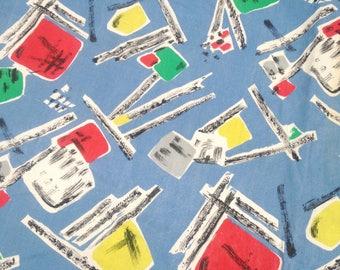 "68"" x 80"" Vintage 50s 60s graphic geometric print retro Fabric"