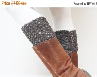 BLACK FRIDAY SALE Boot cuffs hand crochet knitted Leg warmers topper brown white black handmade patterned Christmas ready to ship Wool openw
