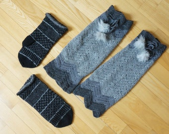 Knit long leg warmers and mittens boot cuff crochet woman girl small large medium size teen wool yoga gym fitness pompom grey black stripe