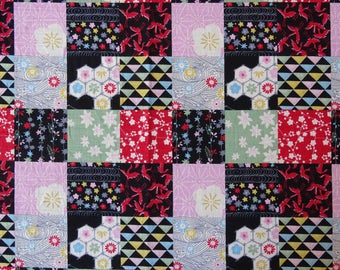 Squared patchwork Japanese fabric cotton.