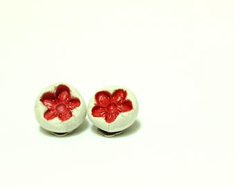 Ceramic red floral clip earrings, handmade modern earrings, ceramic studs, wearable art, minimal round stud earrings