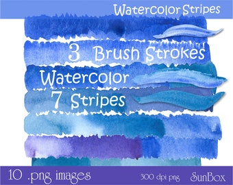 Watercolor Lines Stripes, Blue, Purple, Teal, Watercolor Clip art, Clipart Images for cards, scrapbooking - instant download - CU OK