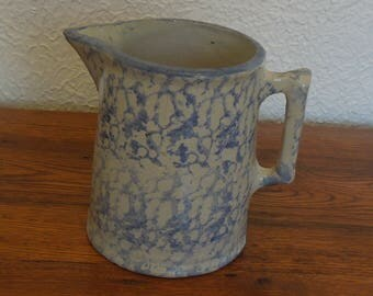 Antique Stoneware Spongeware Pottery Pitcher Blue and White