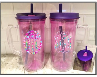 Huge 48 oz. Monogrammed Bubba Envy Mug & Lilly Pulitzer Inspired Vinyl Personalization, Mermaid, Turtle, Pink Insulated with reusable straw