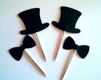 Bow Tie  and Top Hat Cupcake Toppers - Food Pick- black bow tie - shower decorations