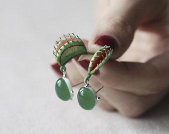 Venus Flytrap Earrings - OOAK Earrings - Vegan Plant - Eco - Flower Jewelry - Greenery - Kale - Jade