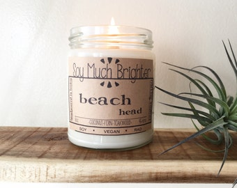 Beach Head: Coconut & Teakwood. Beach scents, Beach candles, Coconut candle, Summer candles, Vegan candles, Soy candles, Crackling candle