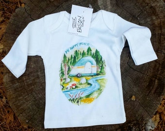 SIZE LARGE My Happy Place Children's Shirt, Kids shirt, kids clothes, kids long sleeve shirt, camper clothes,  forest shirt, camper shirt,