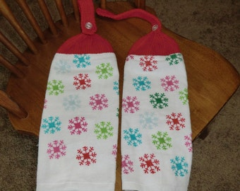 Christmas - Red, Pink, Blue & Green Snowflakes  Knit Top Kitchen Towels