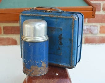Vintage Armaid Rustic Child's Blue Tin Lunch box/Pail/Made in U.S.A.