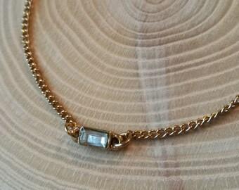 Vintage bracelet, gold tone, with baguette stone, rectangular stone set.