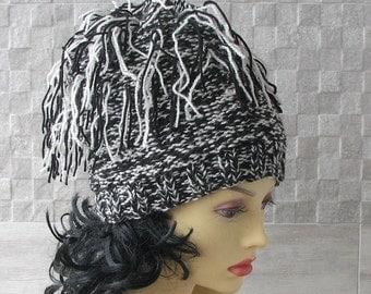 AlbadoFashion trendy Hats, Black and White Winter Hat, OOAK Kniited Beanie Hat, Knit Hat for Women Knit Hats Women
