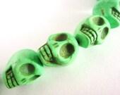 15x18mm Skull Green Howlite Beads Gemstone Sugar Skull Heads