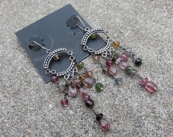 Vintage Pink Tourmaline Sterling chandelier earrings