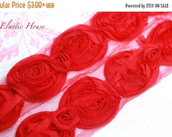 "Closed Out Sale 40% OFF 4"" Shabby Rose Bow Trim - Red Color - Bow Trim - Chiffon BOW Trim - Red Bow - Red Shabby Bow Trim -Hair Accessories"