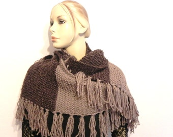 bi-color hand knitted wool scarf brown/beige accessories fringes of fashion for women