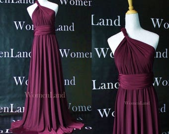 NEW Reddish Purple Wedding Party Bridesmaids Evening Gown Floor Length Prom Custom Made Women Infinity Dresses