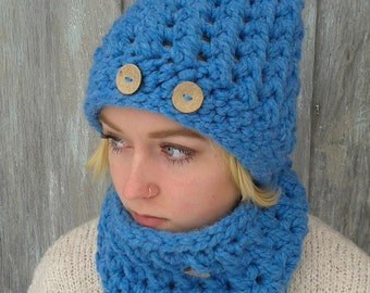 Hat and Cowl Set/Wool Blend/Winter set/Cozy Winter Hat and Cowl/Color Sky Blue